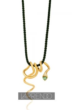 Close Up View of Ole Lynggaard Copenhagen Large Snake Pendant on Dark Green Silk Necklace