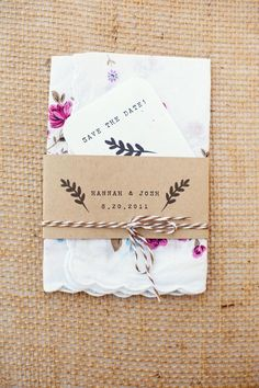Brown paper, twine and hankerchief save the date