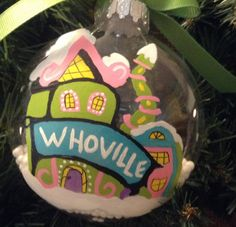 Grinch ornament Whoville houses hand by CowboyCountryCrafts Grinch Ornaments, Village Houses, Christmas Bulbs, Christmas Ideas, Merry, Holiday Decor, Unique Jewelry, Handmade Gifts, Yahoo Search