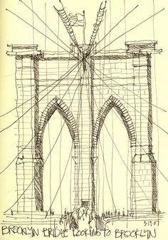 brooklyn bridge - one of my favorite places on earth Moleskine Sketchbook, Artist Sketchbook, New York Illustration, Vintage Architecture, Architecture Sketches, Fountain Pen Drawing, Perspective Drawing Lessons, Ny Map, Building Sketch