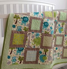 Cozy Jungle Animal Baby Quilt by KimsQuiltingStudio on Etsy, $149.99