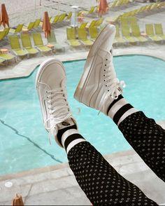 vans: Kick off summer in the True White from Black Jelly Shoes, All Black Vans, Reebok Princess White, Vans Sk8 Hi Slim, Vans Girls, Vans Classic, Black Booties, Vans Shoes, Chelsea Boots