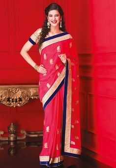 Fuchsia Faux #ChiffonSaree with Blouse