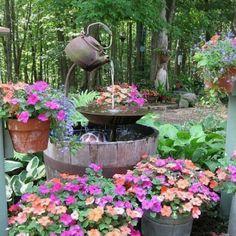 Flower garden water feature