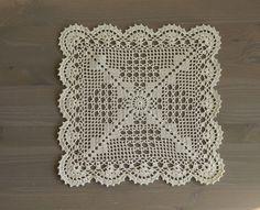 Large crochet square doily -Beige by NadoandLola on Etsy Crochet Squares, Crochet Doilies, Oval Tablecloth, Umbrella Wedding, Thick Yarn, Hand Of Fatima, Love Crochet, Vintage Home Decor, Minion