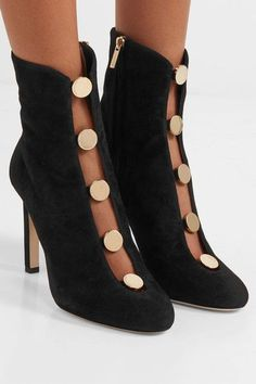 Jimmy Choo - Loretta Button-detailed Suede Ankle Boots - Black