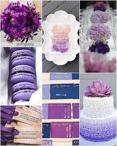 image credits clockwise from upper left: bouquet - enV Photography, ombre wedding invitation via Ruffled image by Stephanie Yonce Photography, table scape - Pinterest, ombre wedding cake - AC Ellis, escort cards - via The Bride's Cafe image by Ashley Please check out our creative wedding favor ideas at www.CreativeWeddingStyle.com
