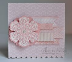Card by Colleen Fennessey    I doubled up the Blossom Punch on this one.  Again, I embossed the flower in white on Blushing Bride and added some pearls.  I used a variety of Blushing Bride DSP for the pennants and layered them with pop dots to give them some dimension.