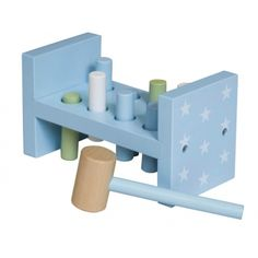 """Light blue pounding bench in wood. Included in the """"Pumpkin"""" series from Kids concept. Little Boy Toys, Toys For Boys, Little Boys, Shops, Baby Boy Nurseries, Baby Shop, Bookends, Light Blue, Interior Decorating"""