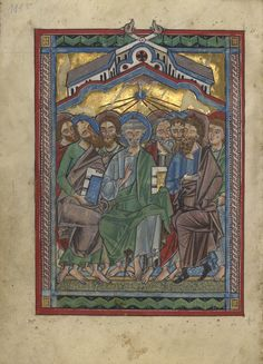 Pentecost; Unknown; Würzburg, Germany; about 1240 - 1250; Tempera colors, gold leaf, and silver leaf on parchment; Leaf: 22.7 x 15.7 cm (8 15/16 x 6 3/16 in.); Ms. Ludwig VIII 2, fol. 111v; J. Paul Getty Museum, Los Angeles, California