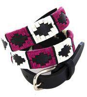 Ladies Skinny Argentine Narrow Polo Belt with black bridle leather Berry   White   Black stripe