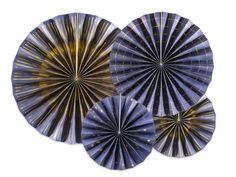 Navy and Gold Rosette Fans, Set of 4 - These fans add a touch of sophistication to any occasion. Mix with our other stunning Navy and Gold decorations.