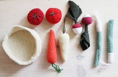 upcycled wool vegetables set kit de legumes de by ouistitine