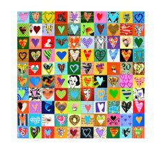 make a quilt wiht hearts like this!  100 HEARTS love art mixed media hearts ORIGINAL art by Elizabeth Rosen