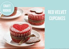 Craft Rookie: Red Velvet Cupcakes - love the decorating idea on too, with the stencil and icing sugar