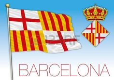 Flag and seal of Barcelona city, Catalonia, Spain