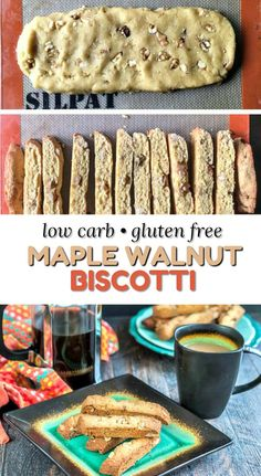 Maple Walnut Low Carb Biscotti - this gluten free biscotti recipe is easy to make and a delicious keto snack! Low Sugar Recipes, Healthy Low Carb Recipes, Egg Recipes, Diet Recipes, Recipies, Gluten Free Bakery, Gluten Free Desserts, Keto Desserts, Keto Cookies
