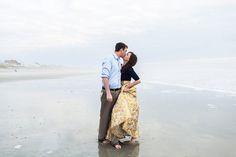 Romantic atlantic beach mist filled engagement.