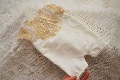 Newborn Romper Prop Ivory Golden Lace от LovelyBabyPhotoProps