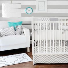 Gray and white chevron baby bedding. Like it with the polka dots and stripes for stylish contrast!