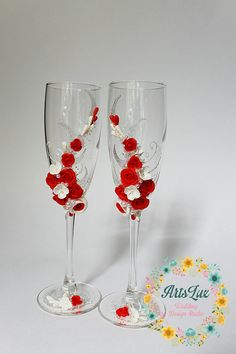 Wedding champagne glasses with beautiful roses handmade от ArtsLux