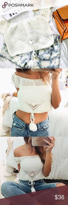 •HP//Honolulu White Crochet Crop Top• Free and flowy are the words to describe this breathtaking boho handmade crochet crop top just as the beaches along Honolulu's shore lines.   •Color: Off White •Style: Crop •Measurements: 11 in •Features/Details: Beautiful crochet patterns. With decorative tassels to adjust to ideal fit. •Disclaimer: See through due to crochet. No under lining.   •Photos are of actual product  •Price is firm  •10% discount on bundles of two or more  •Photo Credit: The…