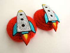Rocket Crocheted Nipple Pasties - Red with tape