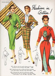 50s day dress red green plaid checks color illustration print ad hat shirt purse vintage style modes royale
