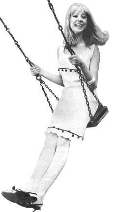 Pattie Boyd on a swing