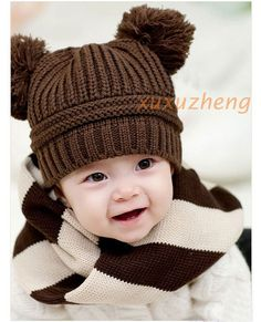 1pcs New Fashion Korean Baby Dual Ball Girls Boys Wool Knit Cap Winter Hat | eBay
