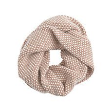 circle scarf in camel + white dots