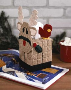 Christmas Characters in Plastic Canvas tissue box covers reindeer