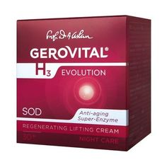 GEROVITAL H3 EVOLUTION, Regenerating Lifting Cream Night Care with Superoxide Dismutase (Anti-Aging Super Enzyme) 30+ by GEROVITAL H3 EVOLUTION. $39.95. The Superoxide Dismutase Together with Vitamins A and E - Protects the Collagen Fibres Preventing the Appearance of Wrinkles. GP4G, a Source of Pure Energy, Sustains the Regeneration and Restructuring Processes.. BENEFITS: Firm, Wrinkle Free, Regenerated Skin.. Genuine Gerovital, Original Formula. The Cream Contributes to ...