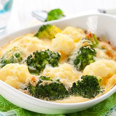 An easy and delicious baked broccoli recipe that is so delicious with the melted cheese.. Broccoli and Cauliflower Gratin Recipe from Grandmothers Kitchen.