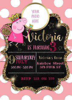 NUEVA invitación de Peppa pig con foto, cerdo de peppa invitación, cerdo de peppa hada, partido del cerdo del peppa, cumpleaños peppa, cerdo de peppa cumpleaños, pepp