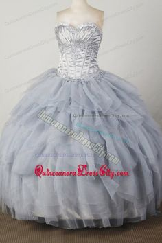 Pleated Sweetheart Silver Ruffled Layers Quinceanera Dresses