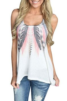Faaaashion Women's Super Cute Feather Tank Casual Loose Style Summer Cool Top Special Offer: $10.99 466 Reviews Please choose size according to the size chart, 1cm=0.39in, Please allow a little error. Size chart: S: Bust 83cm, Shoulder 25cm, Length 68cm; M: Bust 87cm,...