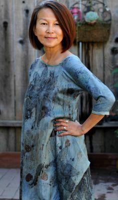 Indigo dyed dress, contact printed with botanicals | Melinda Tai, Obovate Designs™