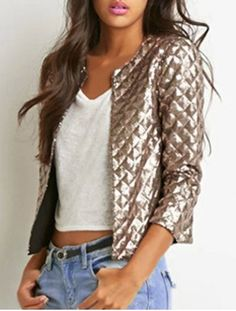 Trendy Round Collar Sequined 3/4 Sleeve Coat For Women Jackets | RoseGal.com Mobile