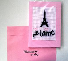 Je t'aime Card Love Card Embroidery and by benedettacraftyshop, $6.00 #Jetaime #Paris #EiffelTower #lovecard #valentine #greetingcard #iloveyou #romanticcard #love