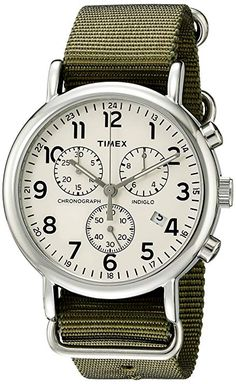 c8ca2a6c9769 Timex Men s TW2P71400 Weekender Chrono Green Nylon Slip-Thru Strap Watch  Timex Watch Mens Essentials