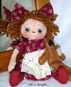 Ollie  Raggedy Doll and Teddy Bear by Allisbright on Etsy, $34.00