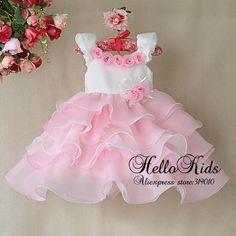 Azul Y Rosa Children Wear   nuevo 2014 niñas niños vestidos de fiesta de color rosa rosa vestido ...