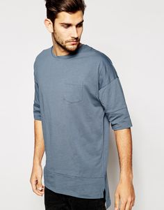 ASOS Super Longline T-Shirt With Pocket and Seam Detail
