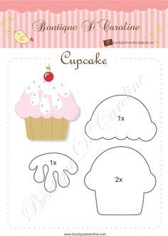 Atelier - Boutique D 'Caroline: Cast and Cupcake tags - Free Felt Diy, Felt Crafts, Diy And Crafts, Crafts For Kids, Paper Crafts, Felt Templates, Applique Templates, Applique Patterns, Felt Patterns
