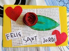 Targeta felicitació per Sant Jordi 2018 Saint George, Roses, School, Fine Motor, Crafts For Kids, Adventure, Book, Activities, Cards