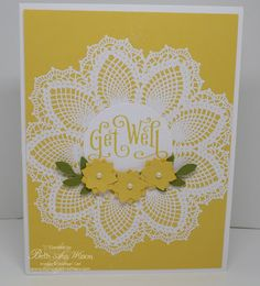 Stamp Sets: Hello Doily and Perfectly Penned  Ink: Daffodil Delight & Versa Mark