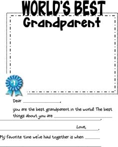SEPT. 8- GrandParents Day! Add a picture & tell your grandparents how special they are by filling this out and gifting it to them!