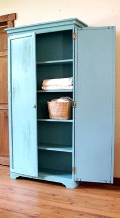 Plans for making an armoire that can also function as a pantry or linen closet or any number of capacities!