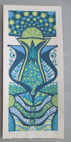 Original silkscreen concert poster for Phish at Randall's Island in New York City in 2014. It is printed on Watercolor Paper with Acrylic Inks and measures around 10 x 22 inches.  Print is signed and numbered out of 124 by the artist Tripp.